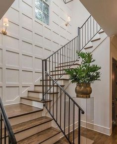 70 Farmhouse Wall Paneling Design Ideas For Living Room Bathroom Kitchen And Bedroom 5 – Home Design Stairwell Wall, Staircase Wall Decor, New Staircase, Stair Walls, Stair Decor, Staircase Design, Staircase Ideas, Basement Stairs, Entryway Stairs