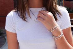 Simple oval necklace and white t-shirt