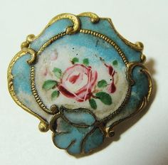 Very Pretty Antique Enameled Button OMG!!