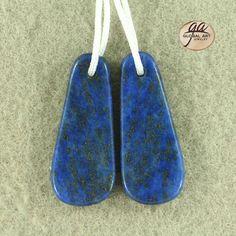 EA08623#  Beautiful Lapis Lazuli Earrings Bead, Natural Genuine Lapis Lazuli Gemstone Earring Beads Size :  33x14x4mm / Weight  7 g