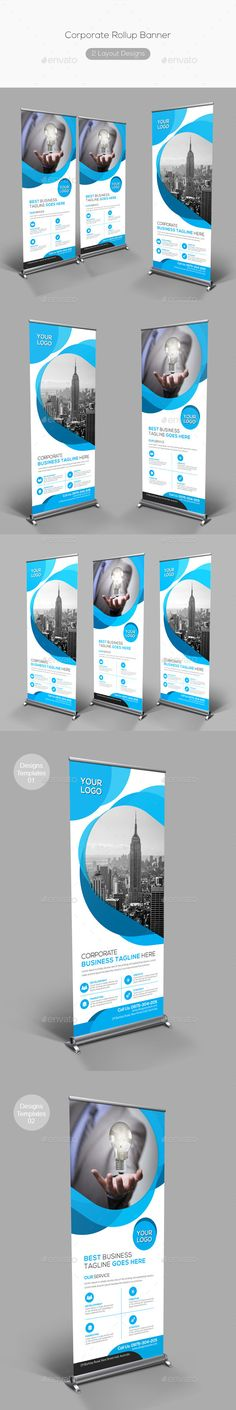 Corporate Rollup Banner by Fully layered Adobe Photoshop 2 Layout Designs 2 Psd File CMYK Color Mode 300 DPI Resolution Size 0 Pull Up Banner Design, Roll Up Design, Cover Design, Rollup Banner, Signage Design, Layout Design, Branding Design, Banner Template, Digital Signage Displays