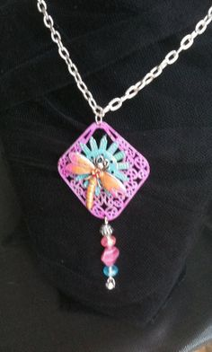 Pink Green Enamel Dragonfly Necklace by VintageMemoryJewelry, $25.00
