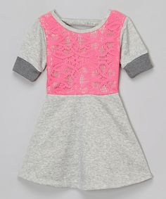 Look what I found on #zulily! Hello Gorgeous Gray & Pink Lace Dress - Girls by Hello Gorgeous #zulilyfinds