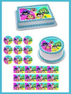 Teen Titans Go 4 Edible Birthday Cake Topper OR Cupcake Topper, Decor