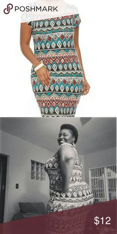 Geometric Print Bodycon Summer is officially here and you can be cute/flirty bodycon dress. It is fitted in all areas, has cap sleeves and comes to the knees on an average height woman. Rainbow Dresses
