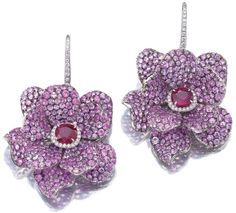 Ruby, sapphire, and diamond earrings by Michele della Valle.