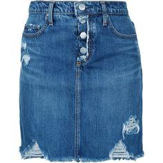 Nobody Denim Harper Skirt Exposed Break Up ($159) ❤ liked on Polyvore featuring skirts, blue, high-waist skirt, high-waisted skirt, slimming skirts, high rise skirts and blue skirt