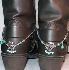 Blue Cowboy Boot Bracelet Heel Spur Bling Western Boot Accessory 1404