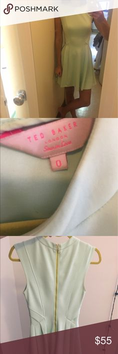 "Ted Baker pale mint green dress This is a knee length mint green dress by Ted Baker in neoprene. It is beautifully pleated for a geometric finish and it has a darted bust for a perfectly tailored fit. 88% Polyester, 12% elastane Care: hand wash cold. 32"" to 34"" bust. 25"" or 26"" waist. 34"" or 35"" hips Ted Baker London Dresses"