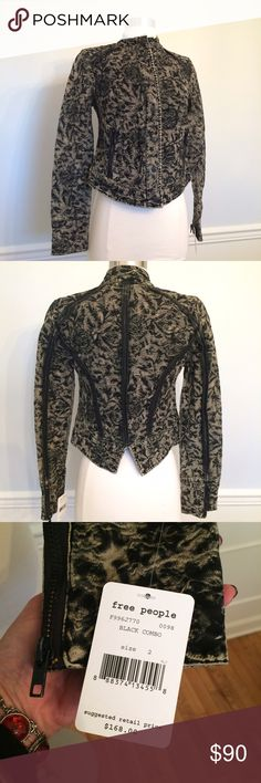 """Free People Biker Jacket Rag Camo NWT! Sz. 2. Super cool cropped biker jacket. Has a super cool """"ragged"""" Camo design. Hidden zipper, snap closure placket. Intentionally distressed hardware. 98 cotton 2 spandex. Brand new with tags. Smoke free, clean home. Free People Jackets & Coats Utility Jackets"""