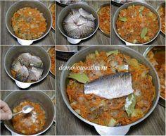 Рецепт приготовления карасей с томатным соком и овощами. Как тушить карасей на плите в казанке или кастрюле с толстым дном.  Как приготовить карася в томате.