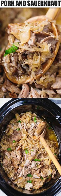 Slow Cooker Pork And Sauerkraut - easy to make, nutritious, comfort meal, perfect for your holiday table or to cook on a snowy winter day. Crock Pot Slow Cooker, Slow Cooker Recipes, Crockpot Recipes, Pork Recipes, Paleo Recipes, Cooking Recipes, Recipies, Sauerkraut, Slow Cooking
