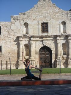 Quick Yoga break in front of The Alamo while on vacation.