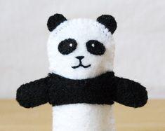 Felt finger puppet, panda, animal puppet, storytime puppet