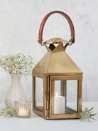 Brass and Leather Lantern - Square