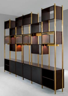 Jules Wabbes; Rosewood, Brass and Glass Modular Library for Le Mobilier Universel, 1960s.