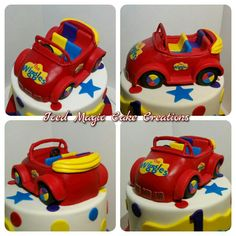 Ideas for red cars cake Wiggles Birthday, Wiggles Party, 2 Birthday Cake, Cars Birthday Parties, Birthday Ideas, Wiggles Cake, The Wiggles, Car Cake Toppers, Vintage Car Nursery