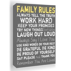 Family Rules Framed Wall Art in Gray - I just love this $54