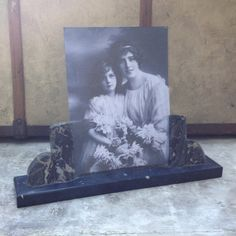 French vintage Large Marble Picture Frame Art Deco