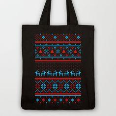 Festive Fair Isle (dark) Tote Bag by Tracie Andrews | Society6