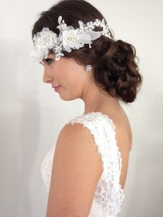 bridal hair and makeup wedding updo hairstyles hair accessories, vintage, lace, brunette, curls, waves, http://www.makeupbyQ.com makeup by Quis