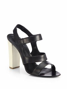 Narciso Rodriguez - Leather Chunky-Heel Sandals - Saks.com