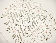 Jessica Hische, hand-lettered and letterpressed baby announcement