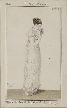 """Costume Parisien, 1812,     From the Bibliothèque des Arts Décoratifs via SceneInThePast flickr.   plate 1222  """"Peigne et Bandeux de Corail. Robe de Mousseline-Gaze"""""""
