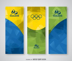 Set of banners featuring polygonal backgrounds in green, yellow and blue, with the Olympic rings and the official Rio 2016 Olympic Games logo. Perfect for
