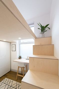 mezzanine-lofts-bespoke-stairs-storage-birch-ply-Scandinavian-loft-lights-studio-flat-london Source by thesarahrose Loft Mezzanine, Mezzanine Design, Mezzanine Bedroom, Loft Stairs, Loft Room, Loft Design, Bedroom Loft, Attic Bedrooms, Storage Design