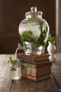 Drink station - Use books to raise juice dispenser