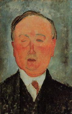 Man in a Monocle Named Bidou 1918 | Amedeo Modigliani | Oil Painting #modglianipaintings