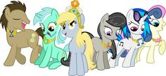 My little pony background characters left to right: Dr Whoves, Lyra, Derpy, Octavia, Dj Pon3, and Bon Bon