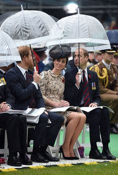 The royals were most recently pictured using white trim birdcage umbrellas at the Somme Centenary commemorations in France.