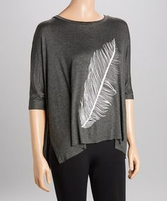 Another great find on #zulily! Charcoal & White Feather Dolman Top #zulilyfinds