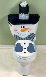 SNOWMAN TOILET SEAT TANK COVER AND Tissue Box Christmas