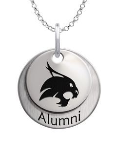 Texas State Bobcats Alumni Necklace.  We use the finest sterling silver and combine with high tech laser technologies to create this personalized collegiate necklace collection.