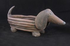 "Dachshund (aka weiner dog..!) 9 1/2"" long, 4 1/2"" tall (OD) - no drainage hole in this piece. ***SOLD***"