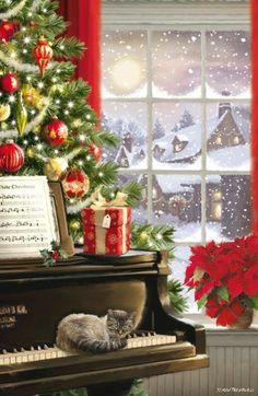 Christmas Scenery, Christmas Artwork, Christmas Past, Christmas Paintings, Christmas Wallpaper, Winter Christmas, Christmas Cards, Christmas Decorations, Illustration Noel