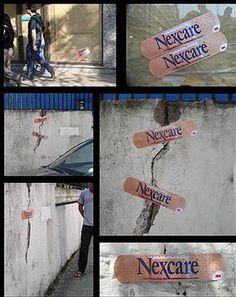 Nexcare   #public #sticker #wall #outdoor #creative #guerillamarketing #guerilla #ambientmedia < repinned by www.BlickeDeeler.de   Follow us on www.facebook.com/blickedeeler