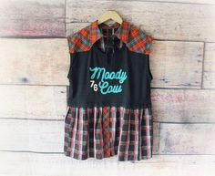 Fun Women's Top Deconstructed Clothing Plaid Shirt Unique | Etsy Western Shirts, Deconstruction, Gypsy Style, Urban Fashion, My Etsy Shop, Plaid, Plus Size, Unique, Clothing