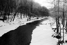 Winter B&W Patapsco River  Fine Art by BeccaVPhotography on Etsy