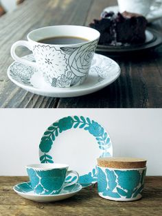 """「グスタフスベリ」×鹿児島睦の新作が発売! 1825年創業のスウェーデンの老舗陶磁器メーカー「グスタフスベリ」から、鹿児島睦さんが手がけたテーブルウェアが登場。愛らしい草花が咲き誇る""""アプリール""""と名づけられたシリーズで4色展開。小ぶりなサイズ感のカップには、コーヒーや冷製スープなど、さまざまなものを入れて毎日使いたい。     上 カップ&ソーサー(カップφ8×H5㎝)¥12,000 下 色付きのタイプはグリーン、イエロー、ピンクの3色展開。プレート(φ18㎝)¥7,800 キャニスター(φ9.5×H8㎝)¥8,800 カップ&ソーサー(カップφ8×H5㎝)¥12,000/以上dieci        問い合わせ先/dieci tel. 06-6882-7828 http://www.dieci-cafe.com/"""