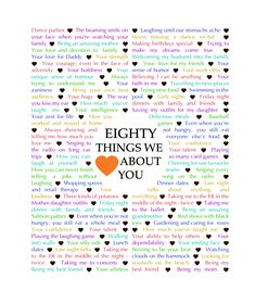 Do you know someone who is turning 80? Give them a gift that tells them how much you love them! 80 Things We {Love} About You – Download is a customizable