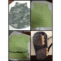 Canotta camouflage a quadri , camicia ,borsa jeans