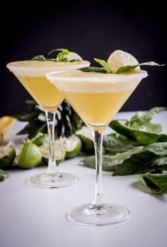 Pineapple-Basil Rum Fizz - Blogging Over Thyme