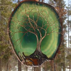 Wire Tree Of Life Spirit sculpture Brazil Green Geode Agate slice Amber, Carnelian, Quartz Crystal, original Art