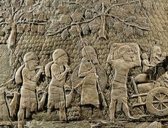 Judean exiles carrying provisions. Detail of the Assyrian conquest of the Jewish fortified town of Lachish (battle 701 BCE). Part of a relief from the palace of Sennacherib at Niniveh, Mesopotamia (Iraq).