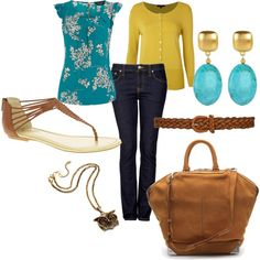 Mustard sweater/teal blouse/jeans Polyvore