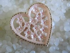 vintage barrette heart shape, Beautiful soft pink with gold highlights, flowers in center